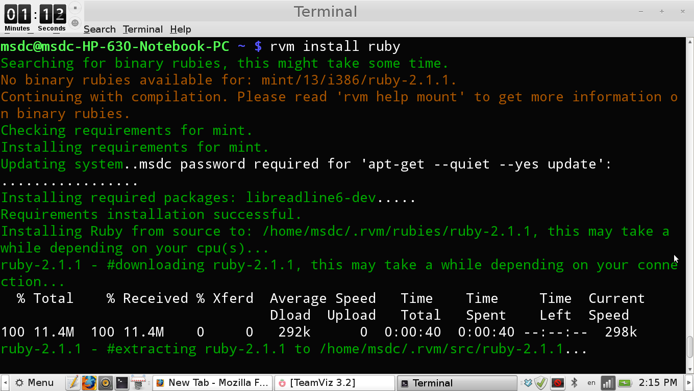 Installing Ruby and Rails on Linux step 3